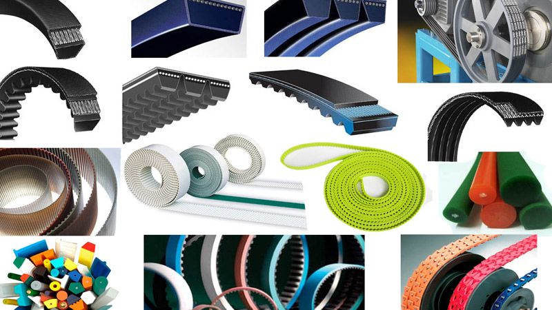 power transmission belts such as timing belts, v belts, wedge belts, conveyors, flat belts, pulleys